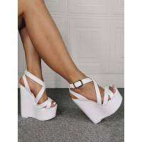 Mens Sexy Sandals White PU Leather Wedge Heel Sexy High Heel Shoes Plus Size Shoes Regular #12400936854