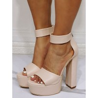 Sexy Sandals For Woman Flesh Color PU Leather Open Toe Chunky Heel Ankle Strap Heels #12400958852