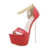 Women High Heel Sexy Sandals Red PU Leather Round Toe Stiletto Heel Sexy Shoes Stripper Shoes Clearance #12400931942