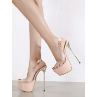 Womens High Heel Sexy Sandals Apricot PVC Upper Peep Toe Stiletto Heel Sexy Shoes Stripper Shoes Clearance #12400933274