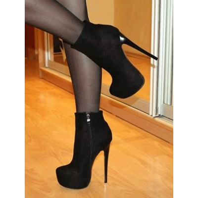 Black Ankle Boots Suede Platform Almond Zip Up High Heel Booties Women Sexy Shoes on clearance #10690812300