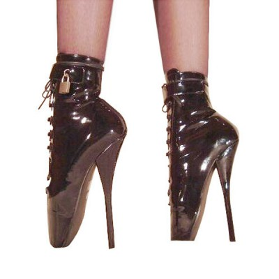 Black High Heel Boots Women Patent Leather Lace Up Sexy Ballet Boots Trending #12410066990