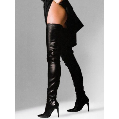 Black Leather Thigh High Boots 2021 Pointed Toe Over The Knee Boots US 6-12 Stripper Shoes new in #12420827168