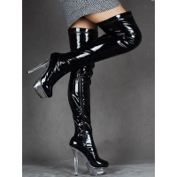 Over The Knee Boots Black Sexy High Heel Round Toe Stiletto Light Patent Leather Thigh High Boots For Women Stripper Shoes boutique #12420731540