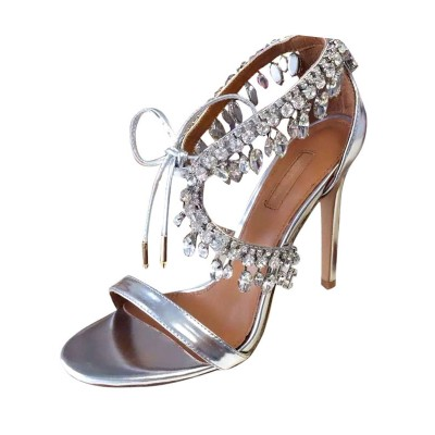 Evening Dress Shoes High Heel Sandals Silver Rhinestones Lace Up Stiletto Prom Shoes stores #32840699900