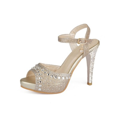 Gold Evening Shoes Women Peep Toe Rhinestones High Heel Sandals Mother Of The Bride Shoes fashion guide #32840813726