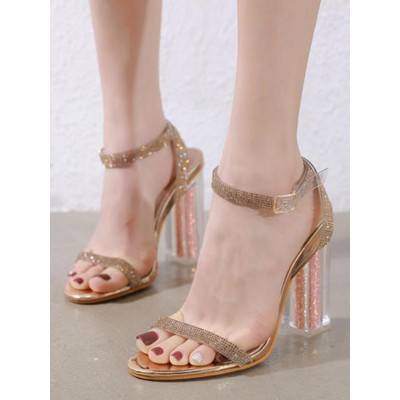 Heel Sandals Blond Chunky Heel Square Toe Sequined Cloth Ankle Strap Heels on clearance #113240953674