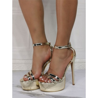 High Heel Sexy Sandals Blond Patent PU Upper Open Toe Stiletto Heel Sexy Ankle Strap Heels shopping #12400943164