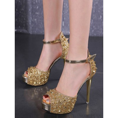 High Heel Spike Sandals Blond Peep Toe Evening Shoes Women Party Shoes shopping #32840914752