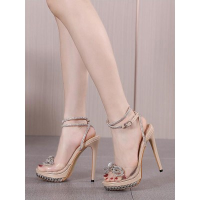 Sexy High Heel Sandals Apricot PU Leather Open Toe Lace Up Rhinestones Sexy Heeled Sandals #12400942088