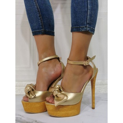 Sexy Sandals For Woman Light Gold PU Leather Open Toe Stiletto Heel Sexy Heeled Sandals hot topic #12400940618