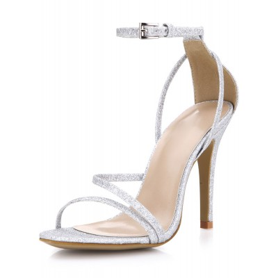 Silver Prom Heels Glitter Strappy Sandals Wedding Shoes #32840567687