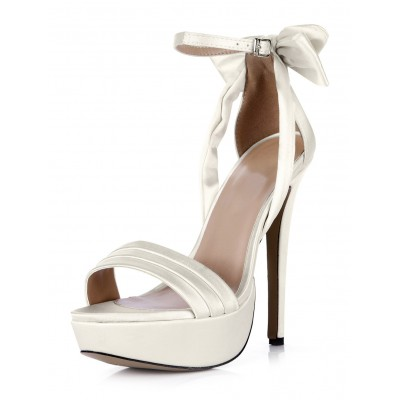 White Buckle Open Toe Imitated Silk Beautiful Evening and Brides Sandals #32840430769