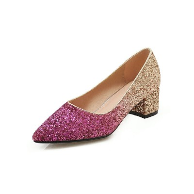 Glitter Party Shoes Women Pointed Toe Chunky Heel Pumps cool designs #32860845414