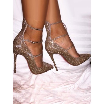 Gold Glitter Prom Sparkly Pumps Pointed Toe Stiletto High Heels New Arrival #32860730008