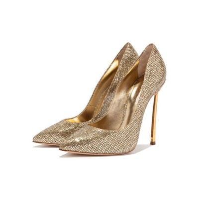 Gold Prom Shoes Sparkly High Heels Pointed Toe Basic Pumps high quality #32860885664