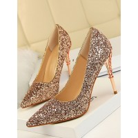 High Heel Party Shoes Champagne Pointed Toe Sequins Evening Shoes Stiletto Heels high quality #32860952730