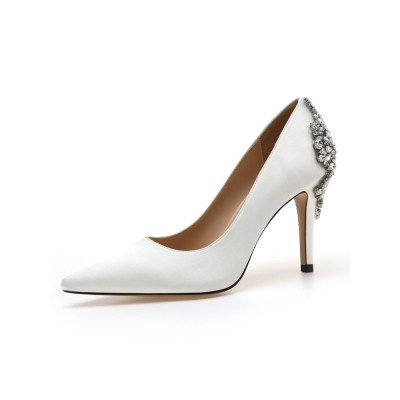 High Heel Party Shoes White Pointed Toe Rhinestones Evening Shoes Fashion #32860907252