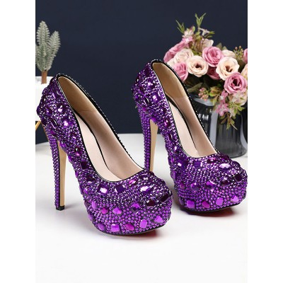 Luxury Prom Heels Crystal Embellished High Heel Party Bridal Shoes Clearance Sale #32880868662