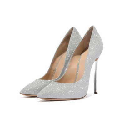 Silver Prom Heels Sparkly Ultra High Heel Sexy Pumps Pointed Toe Wedding Shoes New Look #32860885518