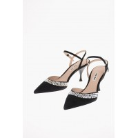 Miu Miu Women's Suede Ankle Strap Pumps with Jewel Applications 8 cm Casual IAXT524