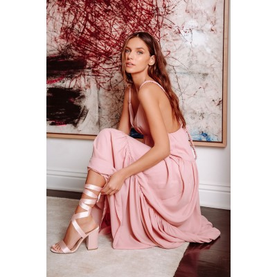 Lulus Alta Blush Pink Satin Lace-Up Heels Blush Pink Women Going Out The Most Popular 3N4SI6828