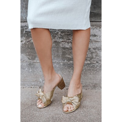 Lulus Dorothea Gold Knotted High Heel Sandals Gold for Women Business Casual UB93H8844