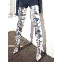 Silver Thigh High Boots Womens Patent Leather Pointed Toe Stiletto Heel Boots On Line #10720881492