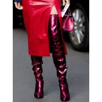 Thigh High Boots Womens Patent Leather Burgundy Pointed Toe Stiletto Heel Over The Knee Boots Designer #10720881490