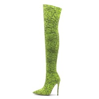 Thigh High Boots Womens Polyster Snake Print Pointed Toe Stiletto Heel Over The Knee Boots spring 2021 #10720885542