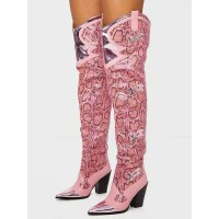 Women Western Boots Snake Pattern Pointed Toe Over The Knee Boots Leather Chunky Heel Thigh High Boots quality #10720924612