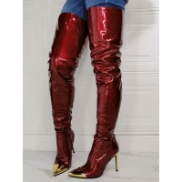 Women's Stiletto Heel Thigh High Boots in Burgundy Patent Leather on style #10720963552
