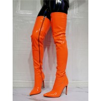 Women's Thigh High Heel Boots in Orange Patent Leather Fit #10720963522