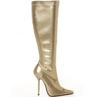 4 1/10'' Heel Gold Patent Leather Women's Ankle Knee-High Boots Cheap #05440030568