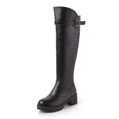 Black Knee High Boots Womens Solid Color Round Toe Puppy Heel Casual Boots In Store #10710879400