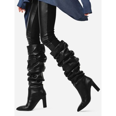 Black Slouch Boots Women Leather Black Pointed Toe Chunky Heel Knee High Boots Lowest Price #10710916646