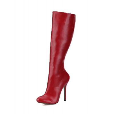 Burgundy Knee High Boots Womens Round Toe Stiletto Heel Winter Boots Fit #10710622601