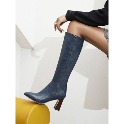 Deep Navy Knee-High Boots For Women Pointed Toe Chunky Heeled Boots #10710929176