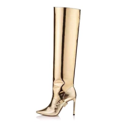 Gold Convertible Knee High Boots Metallic Mirror leather Knee Length Boots for Women Latest Fashion #10710919282