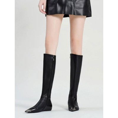 Knee High Boots Black Pointed Toe Flat Knee Length Boots For Woman Best #10710916482