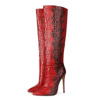 Knee-High Boots Leather Red Pointed Toe Stiletto Heel Extra Wide Women's Boots On Line #10710913932