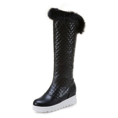 Knee High Boots Womens and Faux Fur Round Toe Thick-soled Winter Boots New Style #10710816272