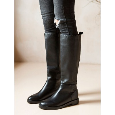 Knee High Boots Womens Black Cowhide Round Toe Flat Heel Daily Casual Boots Hot Sale #10710888248