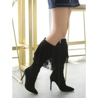 Knee High Boots Womens Micro Suede Tassels Fringed Pointed Toe Stiletto Heel Boots Ships Free #10710813772