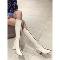 Women's Knee-High Boots Ecru White Square Toe Chunky Heel PU Leather Boot on sale online #10710928936