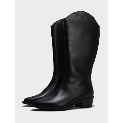 Mid Calf Boots Black Leather Pointed Toe Zipper 1.8 Boots Women's Shoes Regular #10700923138