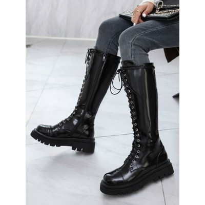 Mid Calf Boots For Woman Black Leather Round Toe Front Adjustable Strap Women's Boots hot topic #10700914434