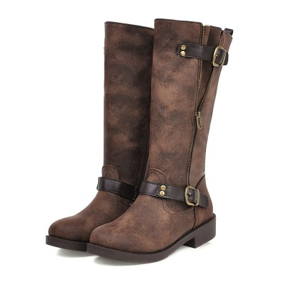 Mid Calf Boots For Women Distressed Leather Round Toe Flat Boots #10700880204