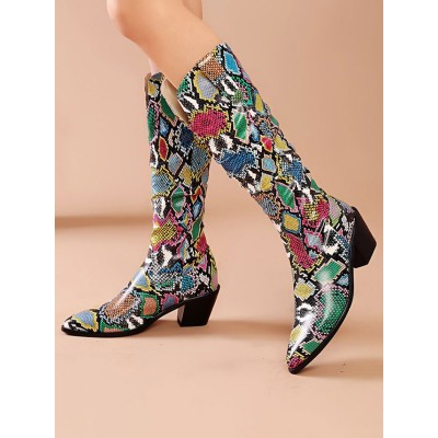 Mid Calf Boots Green Pointed Toe Leather Chunky Boots On Sale #10700924578