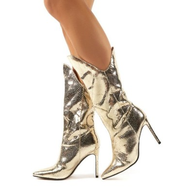 Mid Calf Boots Light Gold Pointed Toe Boots Leather Party Boots Prom Boots 2021 Trends #10700916210